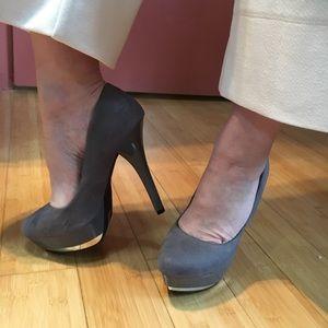 Michael Antonio gray suede heels